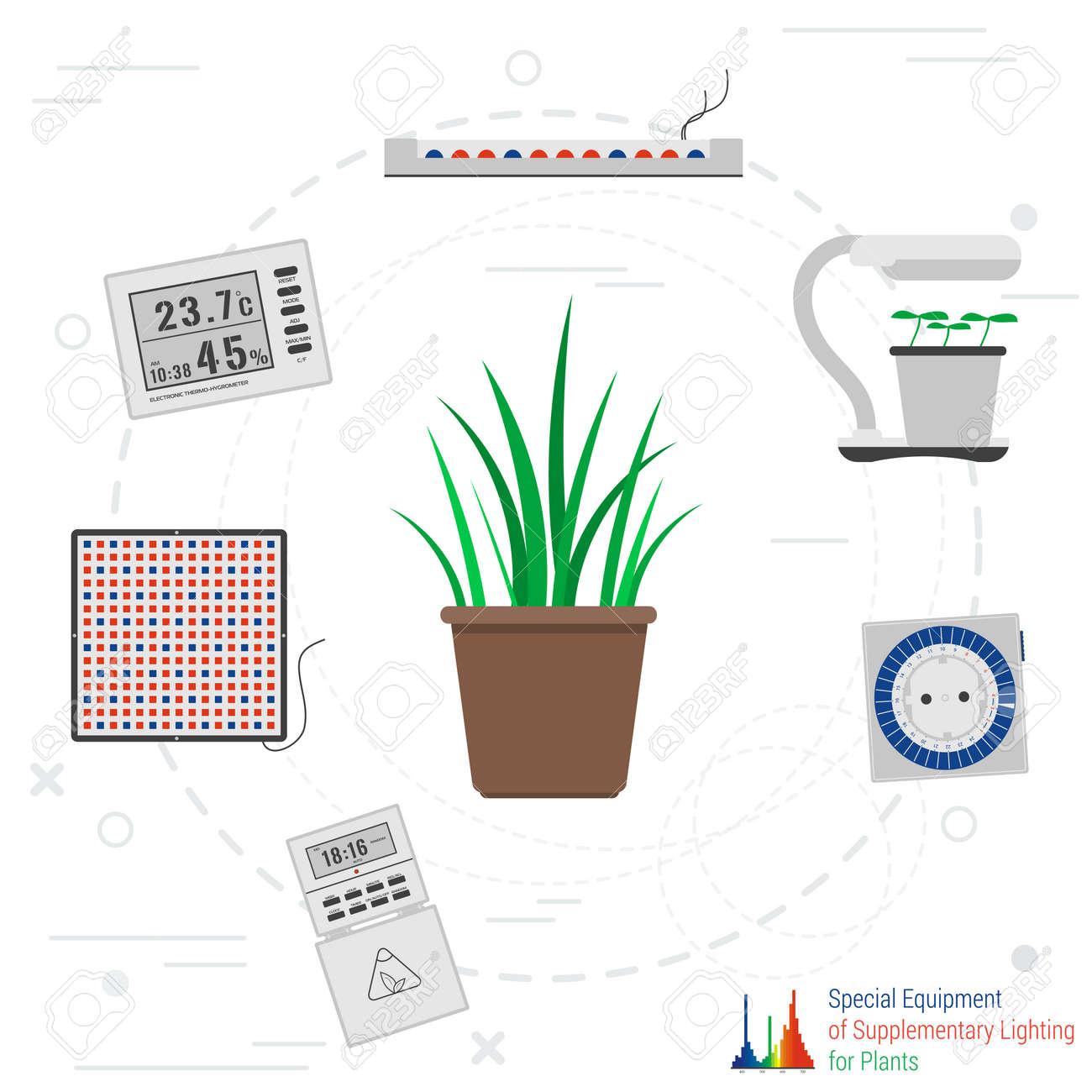 PlatLampes ThermomètreMinuterie Vecteur Plantes Pour Concept Éclairage Le Spécial Dans Led De Artificiel Et Les Quipement Style Phyto ZuTkOPXi