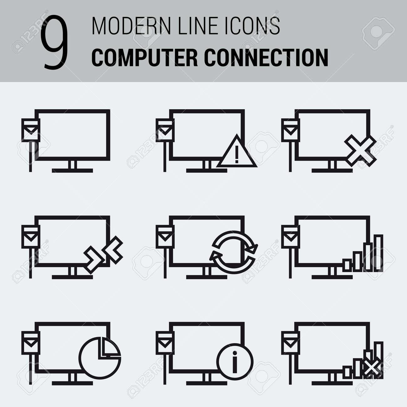 Vector Set Line Icons Für Computer-Local Area Network. Monitor Mit ...