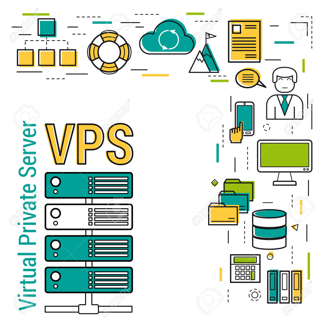 Vector concept internet FTP server and online cloud storage and