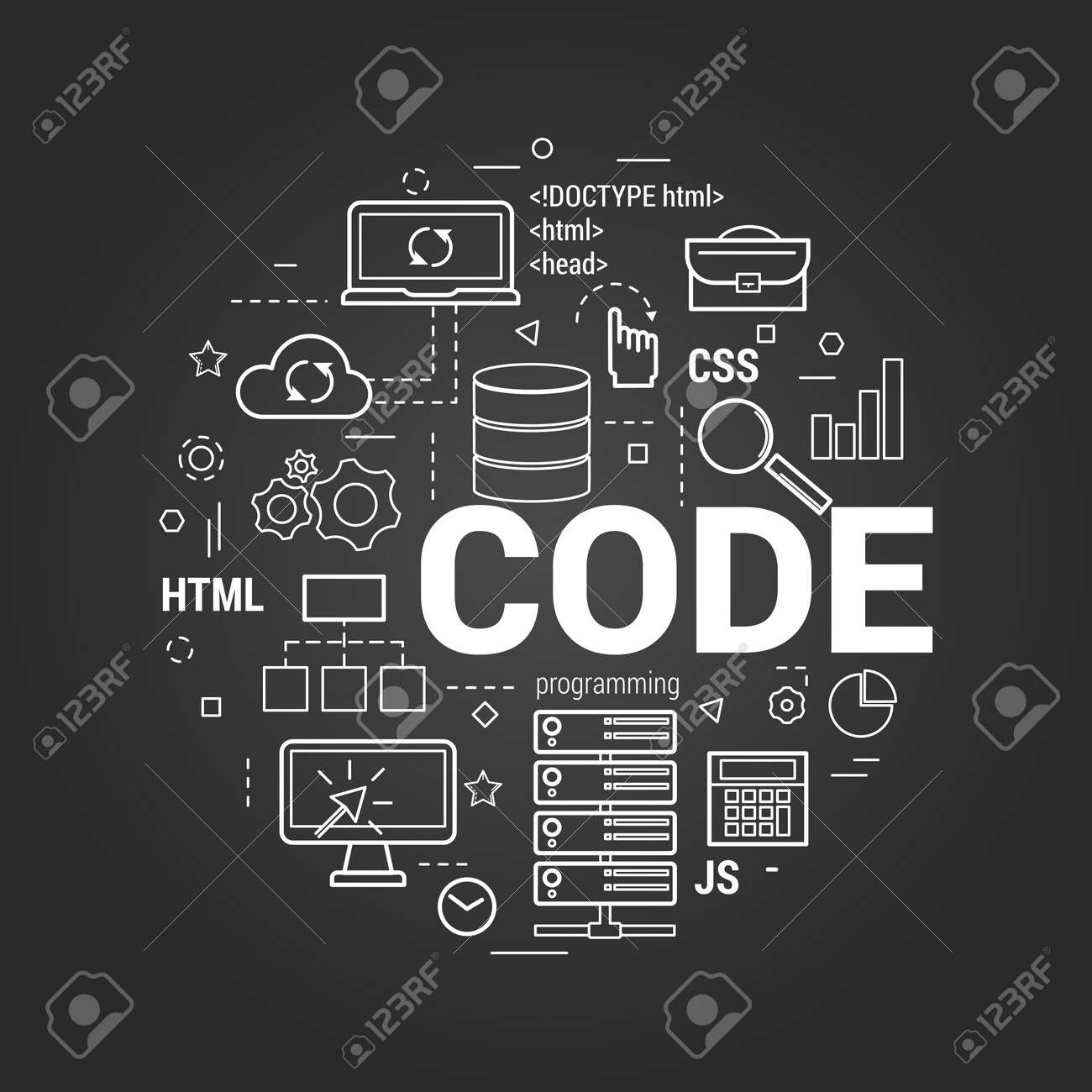 Vector linear concept for programming and coding round banner vector vector linear concept for programming and coding round banner with letters code and many web development and server icons on a black chalkboard spiritdancerdesigns Images