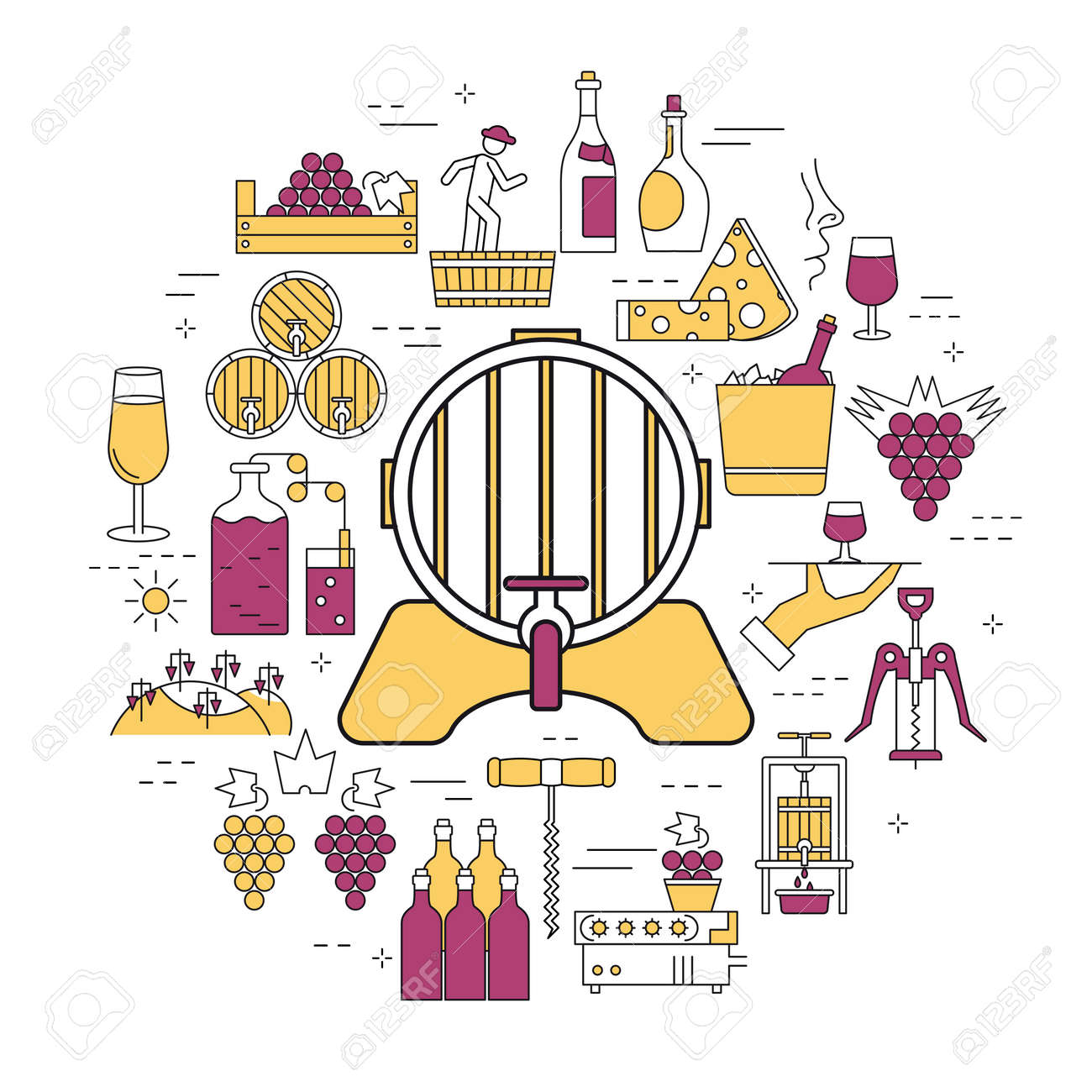 Linear round concept of barrel of wine, processing of grapes. - 84949322