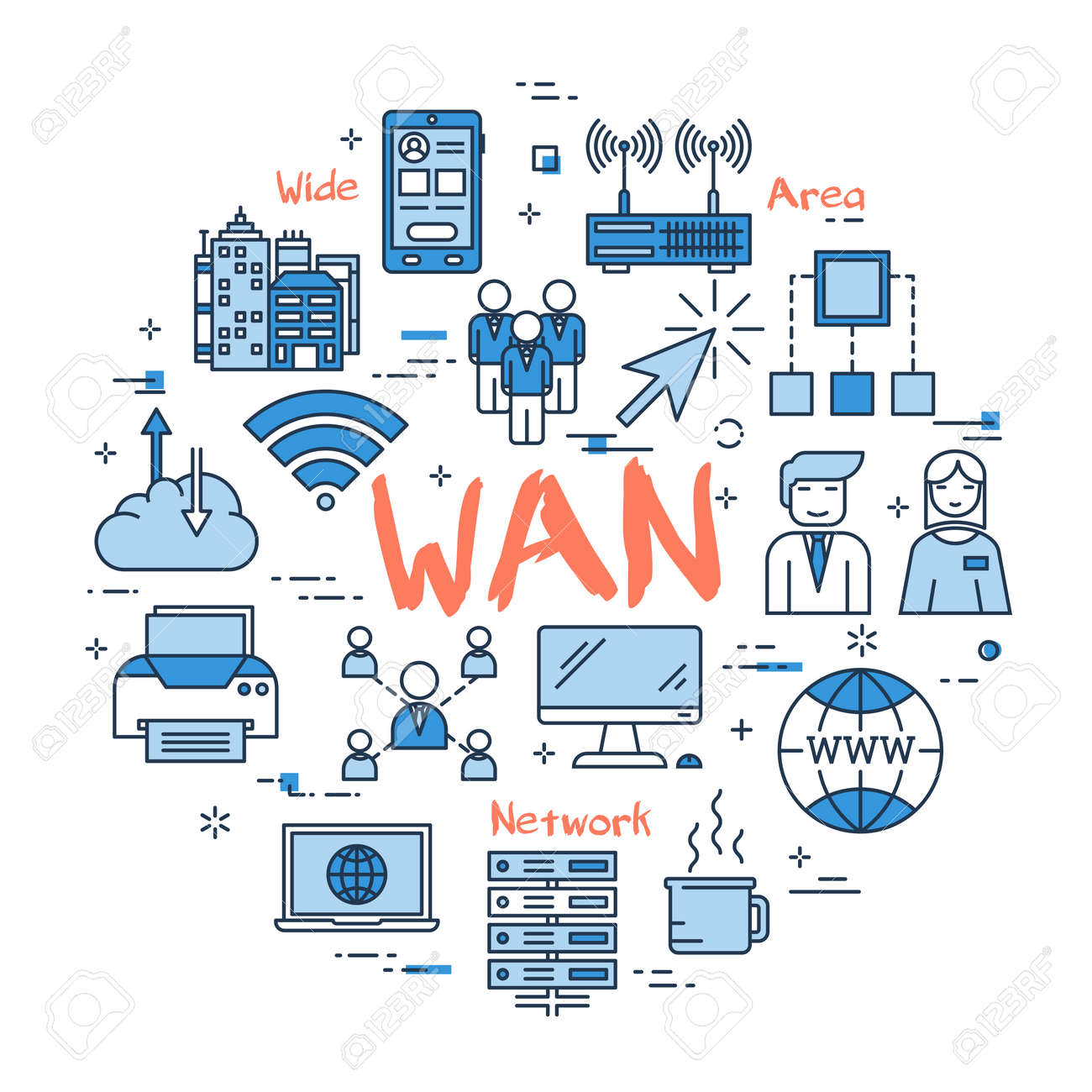 Vector red WAN word with blue linear icons on white background. Round web banner. Concept of wide area network, internet connection and computer using - 85424239