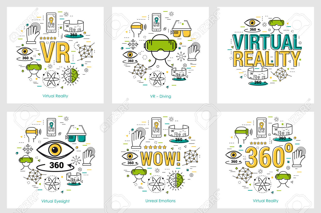 Six VR banners - virtual reality - 92115891