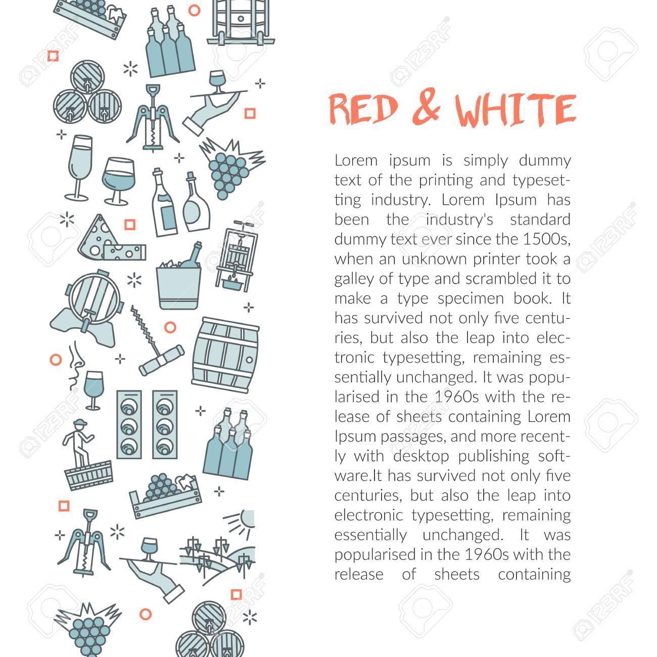 Vector template with text red and white wine with linear icons of glass of wine, and oak barrel. Winemaking concept or flyer illustration - 116704553