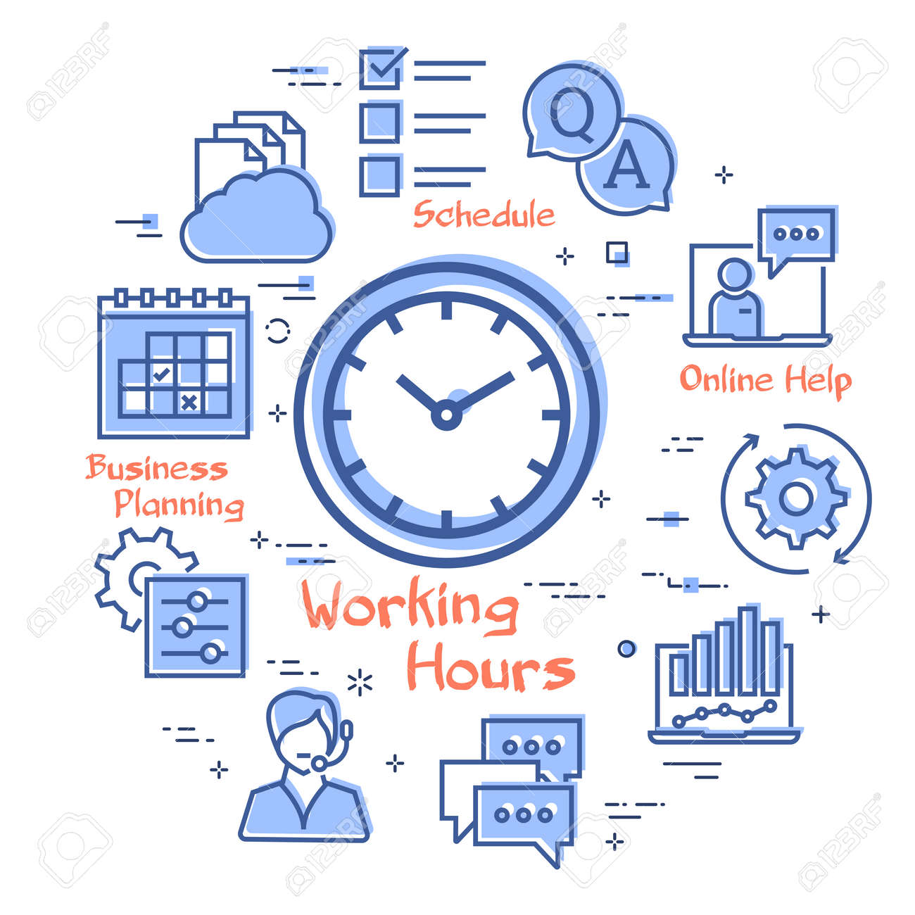 Vector concept of online support - working hours icon - 144440626