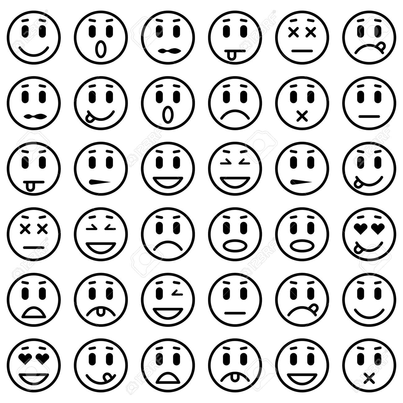 Set Of Emoticons. Set Of Emoji. Isolated Vector Illustration ...