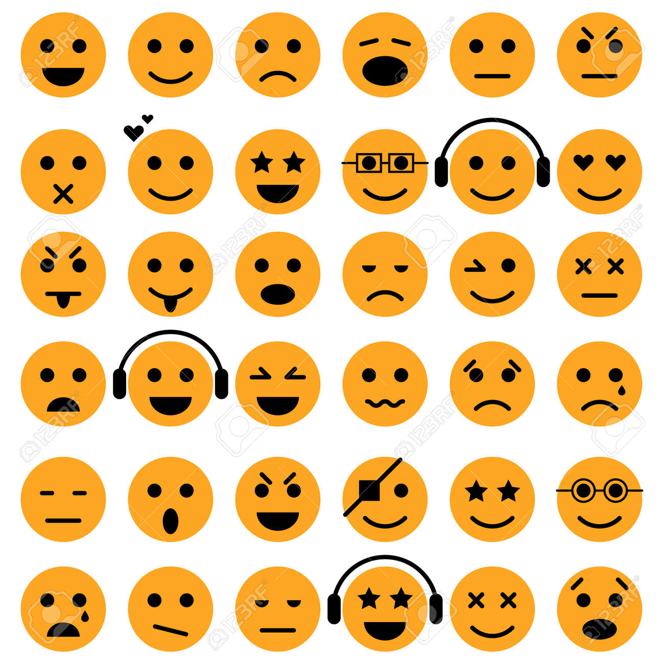 Set of Emoticons. Smiley icons. Isolated vector - 53552884
