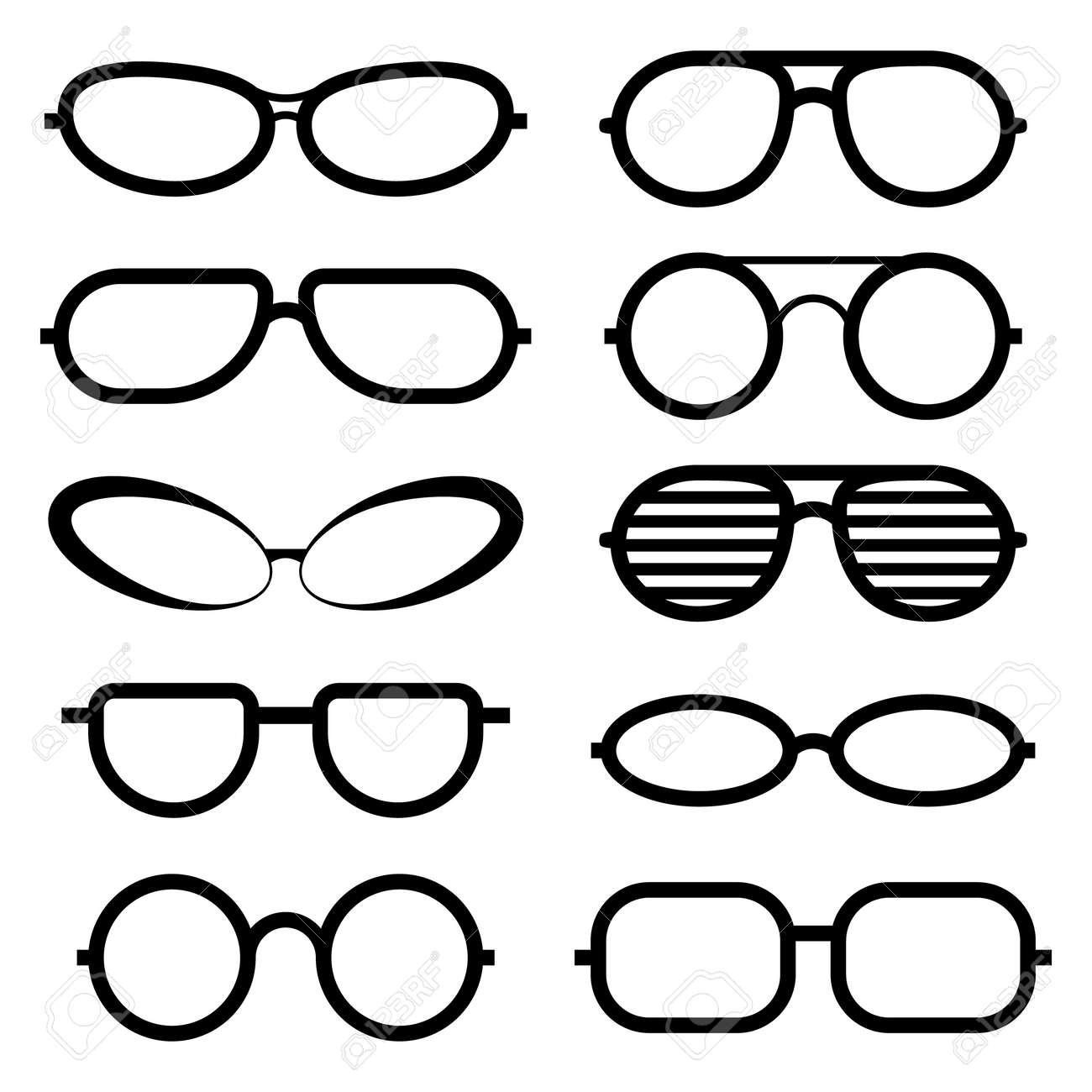 8e33616fb7bdc5 Set van glazen geïsoleerd. Glazen pictogrammen. Zonnebril en medische bril  Stockfoto - 62215148