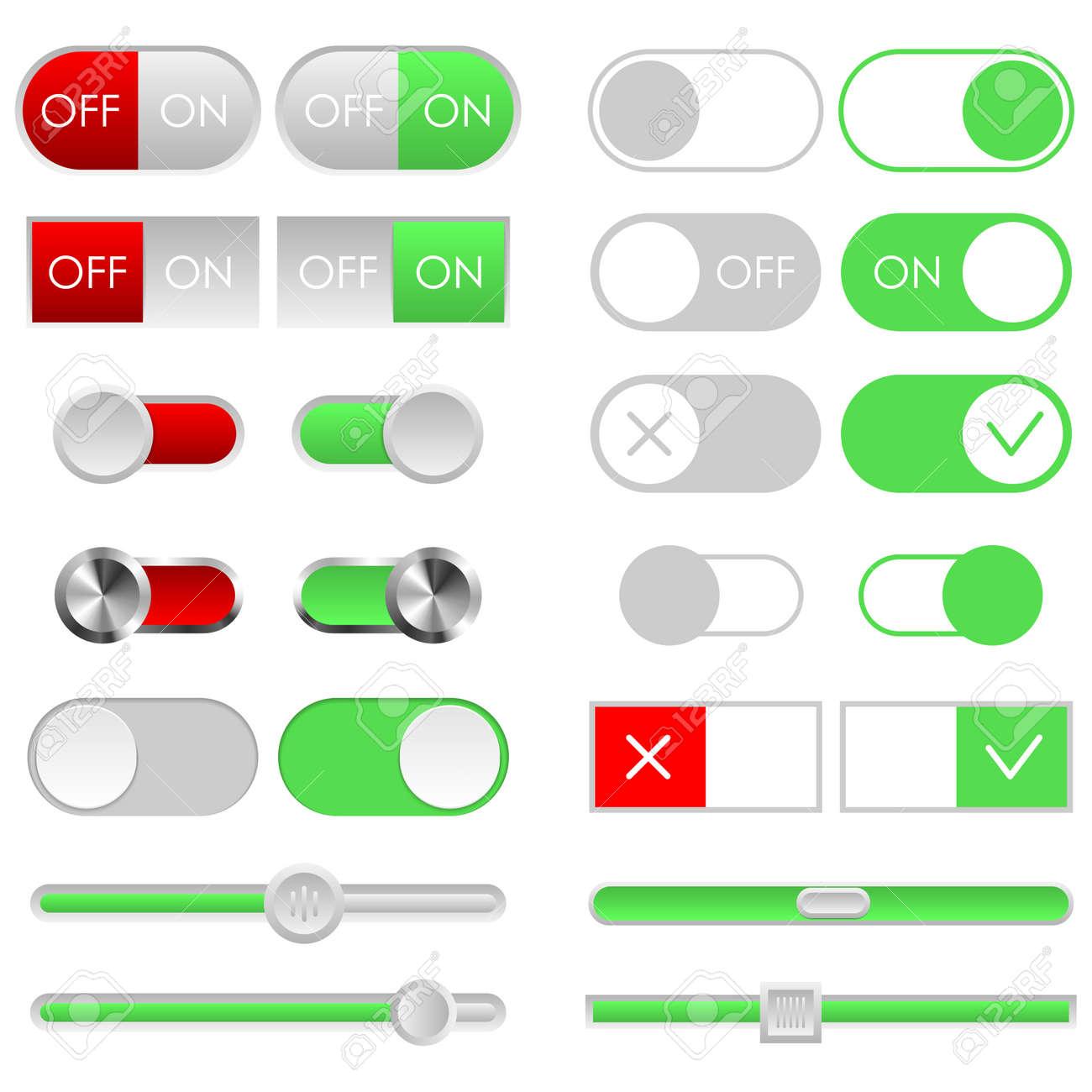 Toggle Switch Set, Licht Thema. Ein Und Aus Schieberegler. Vorlage ...