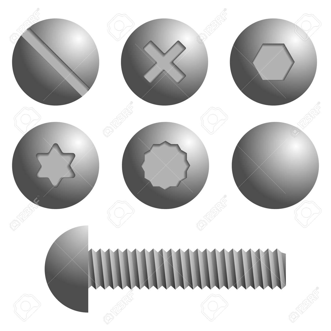 set of metal screws bolts icons isolated vector illustration