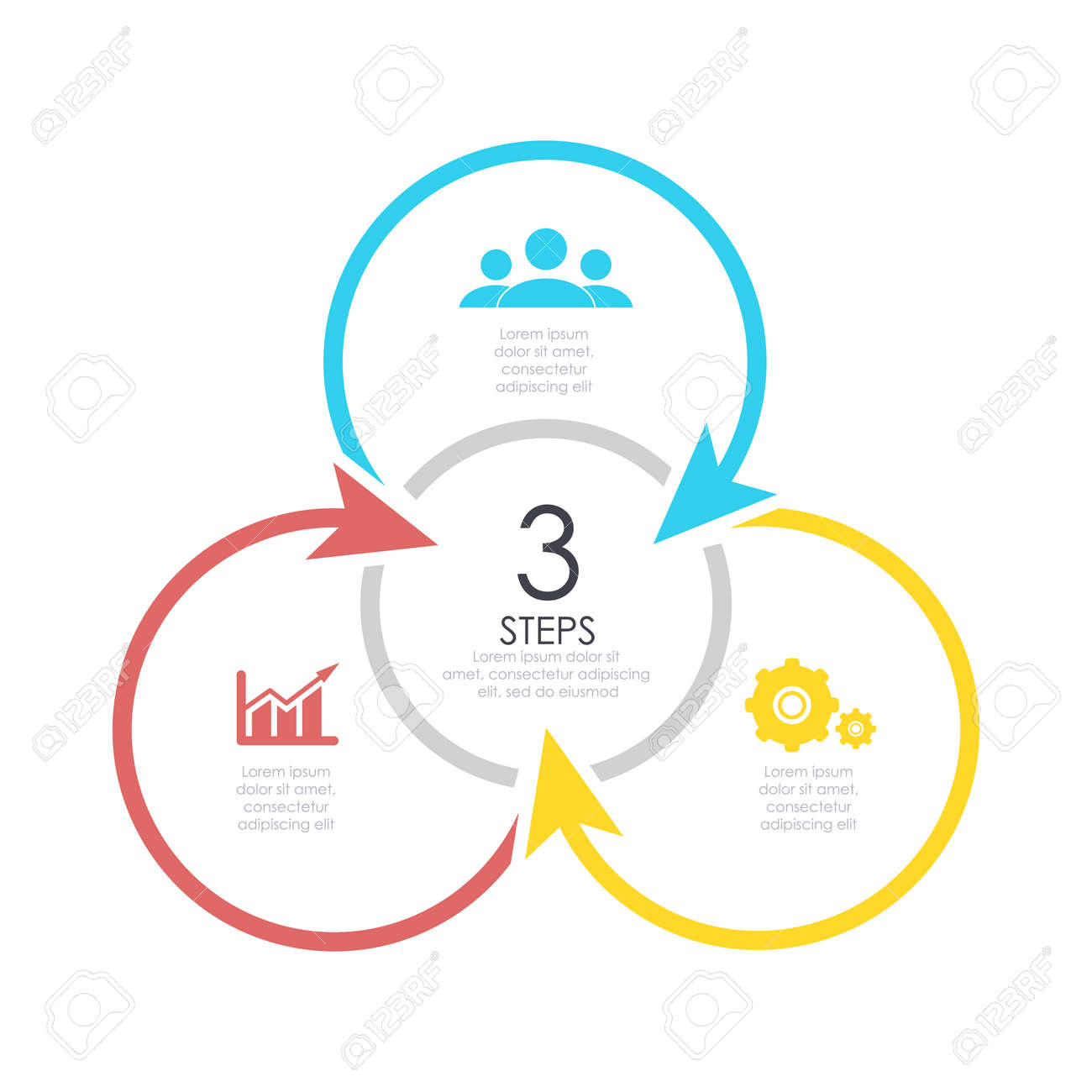 Outline Round Infographic Element Circle Template 3 Steps With