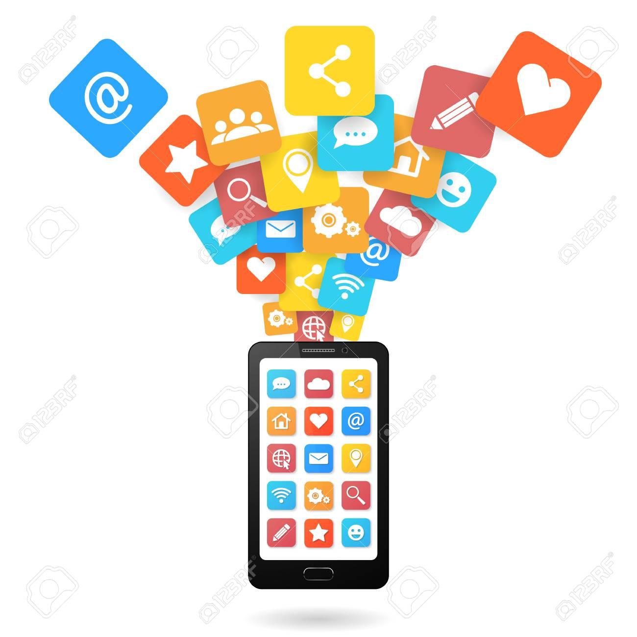 9e184dfd06a Conjunto de iconos de redes sociales con teléfono inteligente. Estilo de  diseño plano. Aislado