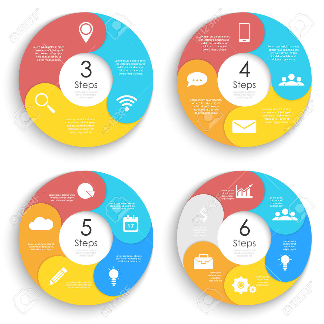 Set template for circle diagram, options, web design, graph and round infographic. Business concept with 3, 4, 5, 6 elements, step, option. Vector illustration. - 124353708