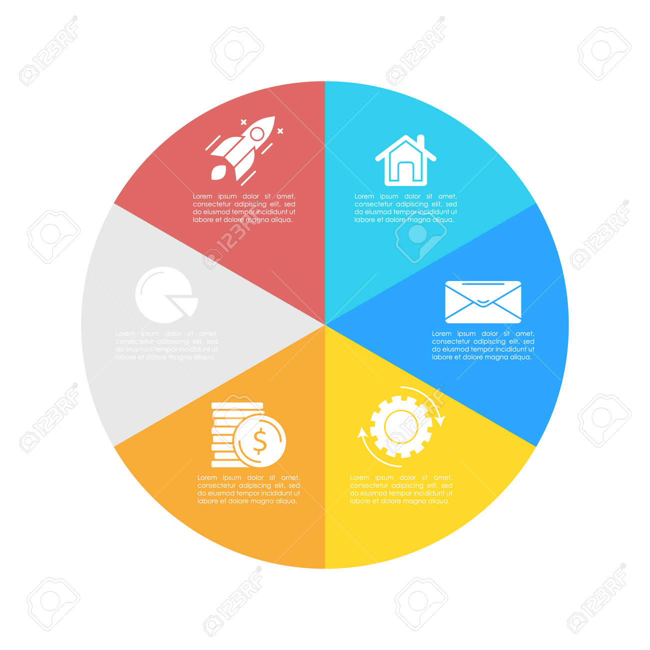 Round infographic template with 6 steps for presentation or chart. Business concept circle diagram. Vector illustration. - 133091548