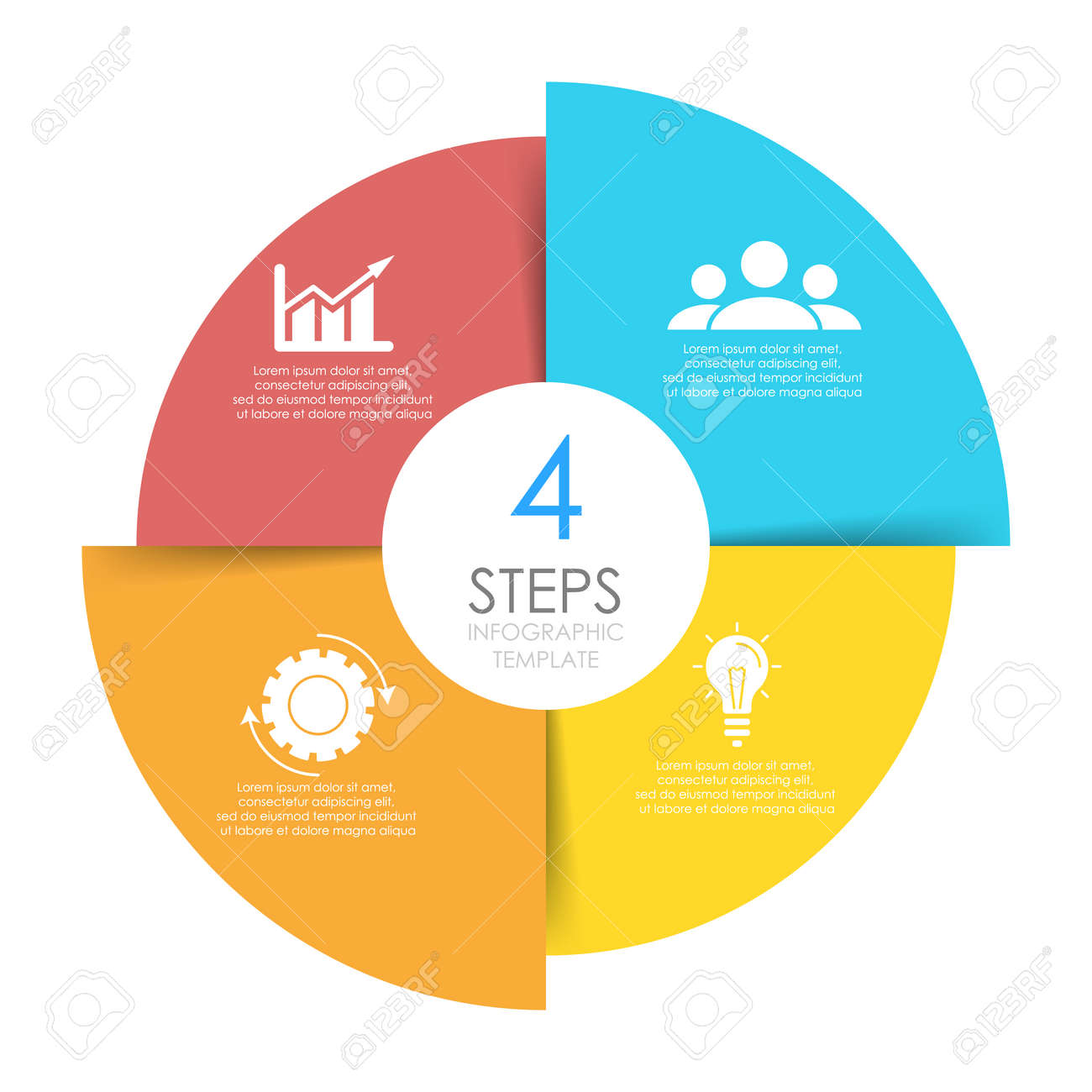 Circle infographics template can be used diagram, presentation or web design. Business concept with 4 options or steps. Vector infographic design. - 155490328