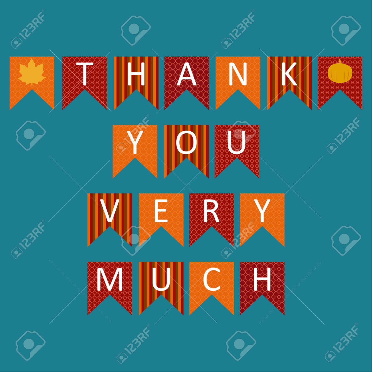Thank you very much sign text in triangle colorful Icon. Celebration quotation for card vector illustration. Modern design poster with leaves and pumpkin. For shop, web, business, flyers, and post. - 111124558