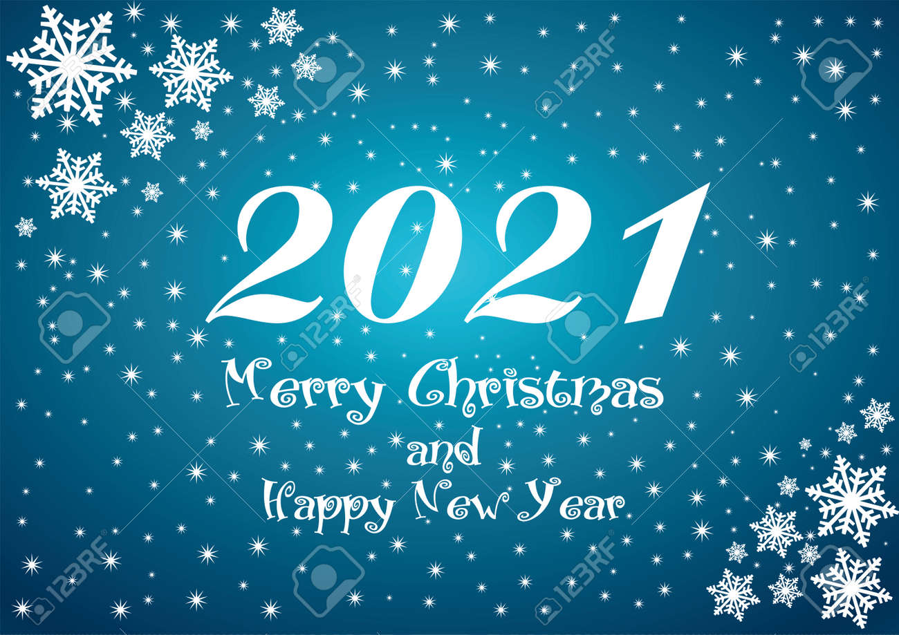 2021 Happy New Year blue background with white stars and snowflakes for your Seasonal Flyers or Christmas. - 155321795