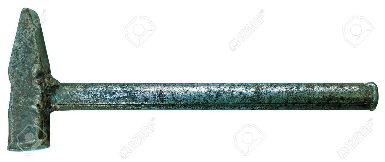 antiqueing solid-metal hammer isolated on white Stock Photo - 3550221