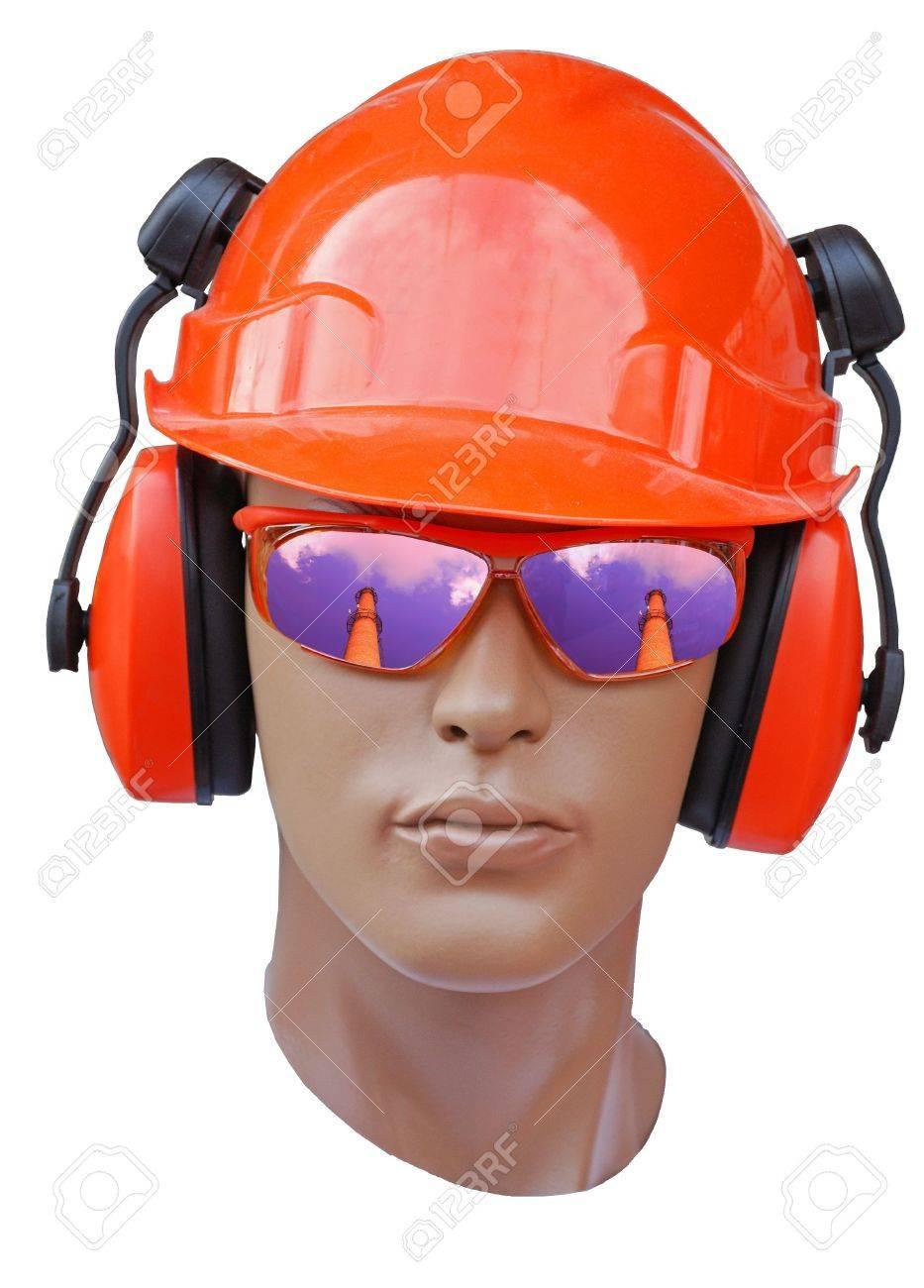 a head of model is in a orange build helmet Stock Photo - 3794574