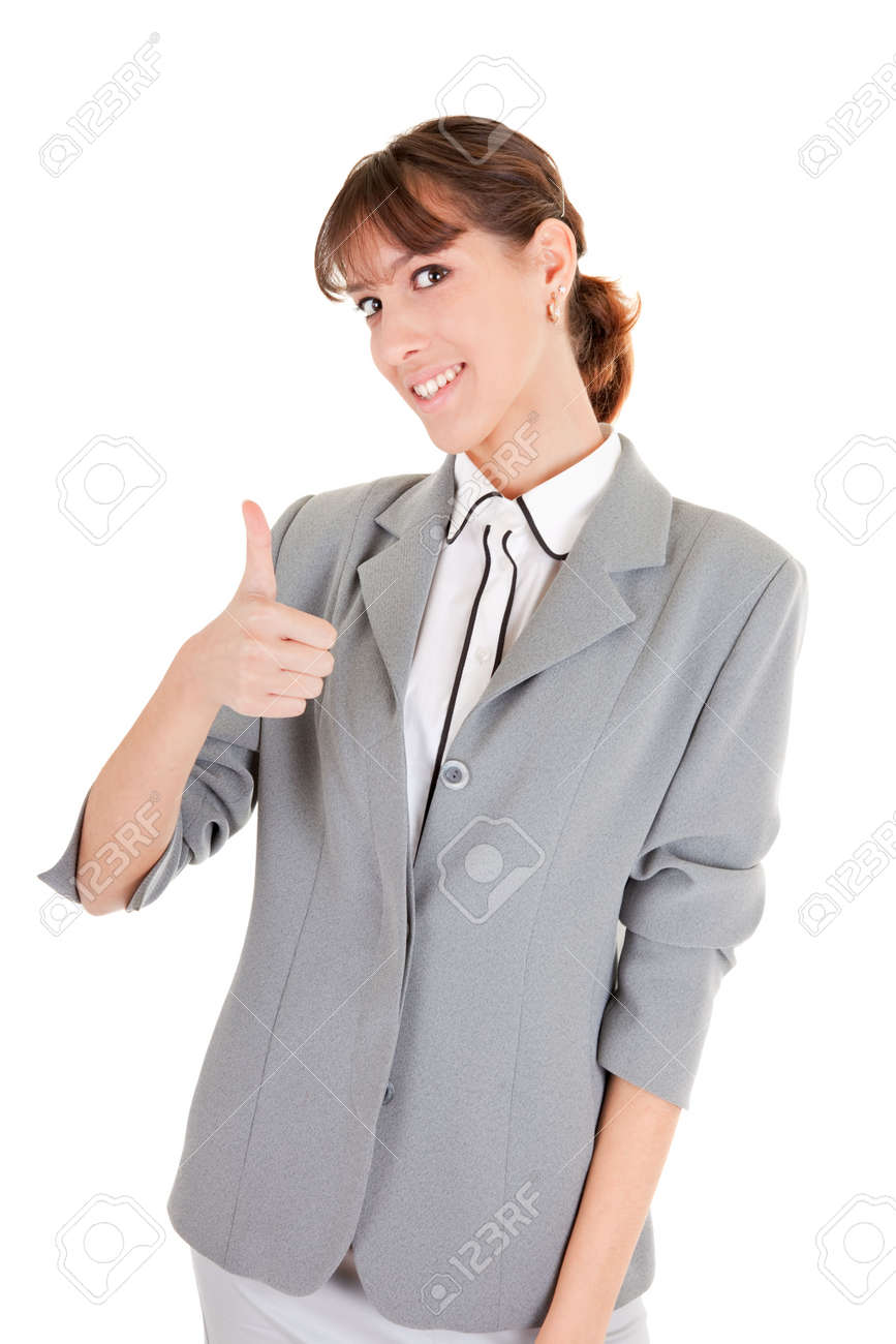 woman in business clothing show OK sign Stock Photo - 6063386
