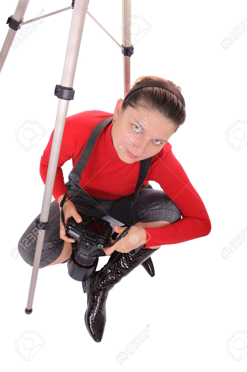 portrait of young woman - photographer in the interior Stock Photo - 6170508