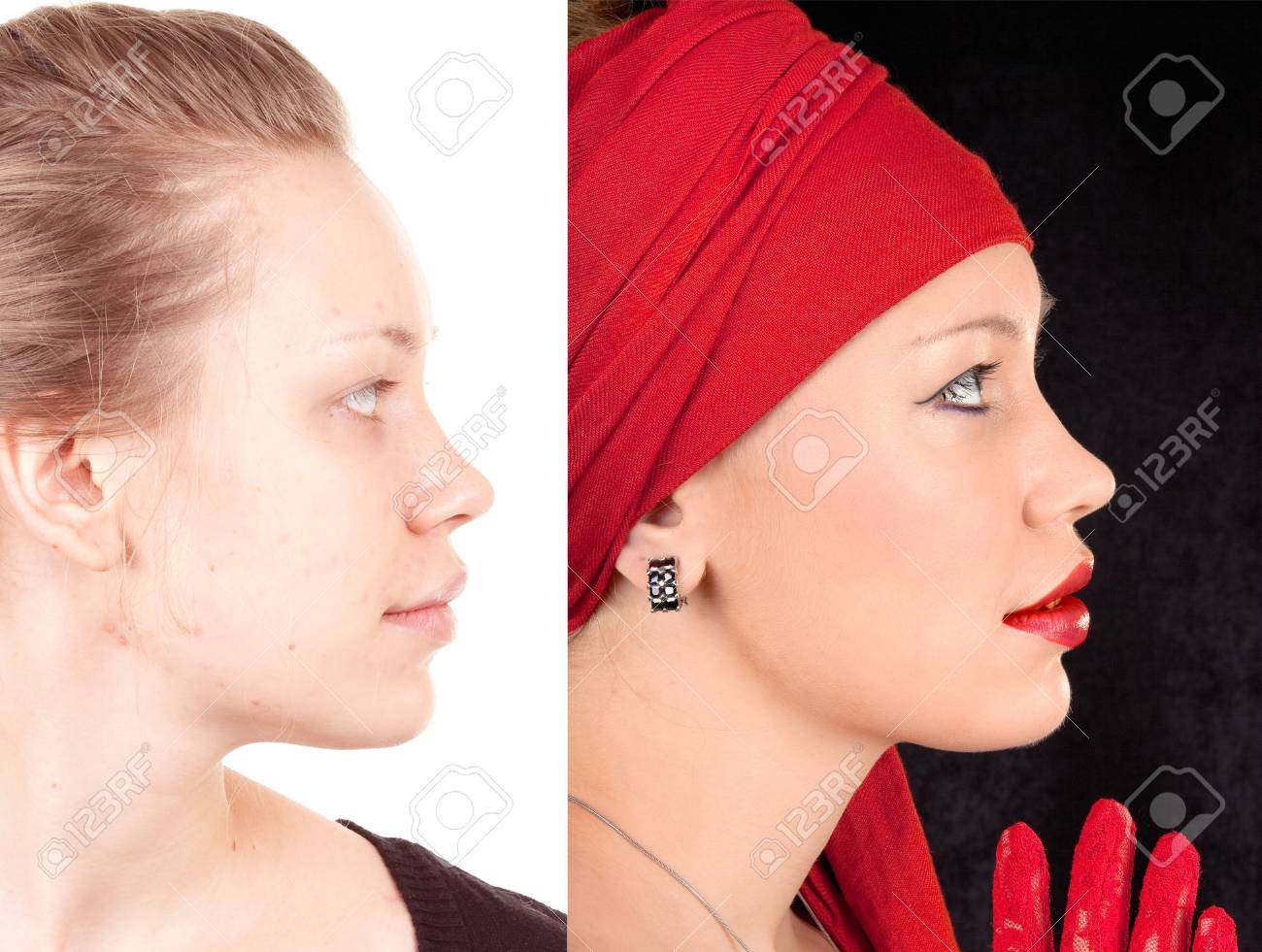 portrait of a girl before and after applying makeup Stock Photo - 6859127