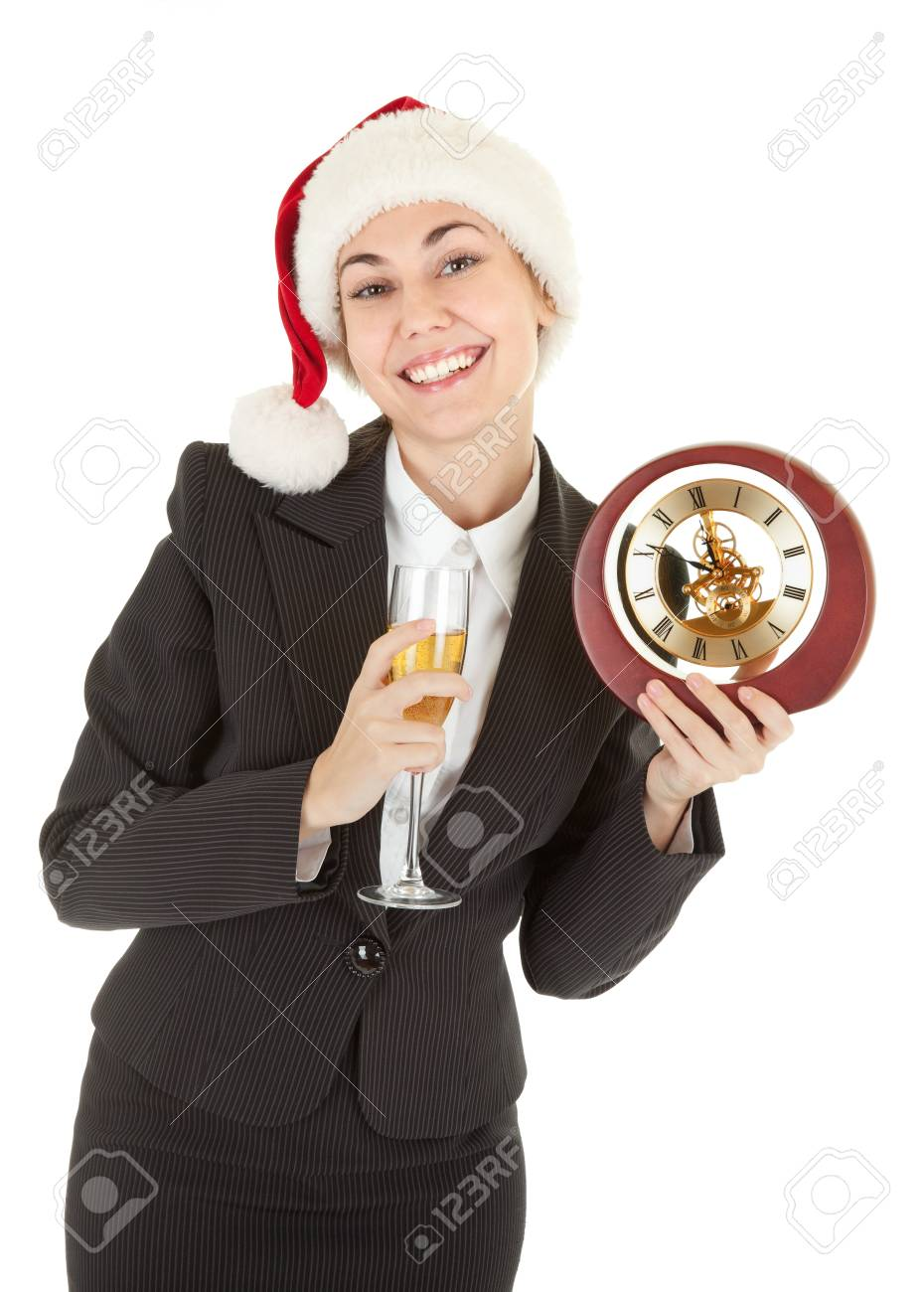 portrait of business girl in Santa hat and with champagne Stock Photo - 8145956