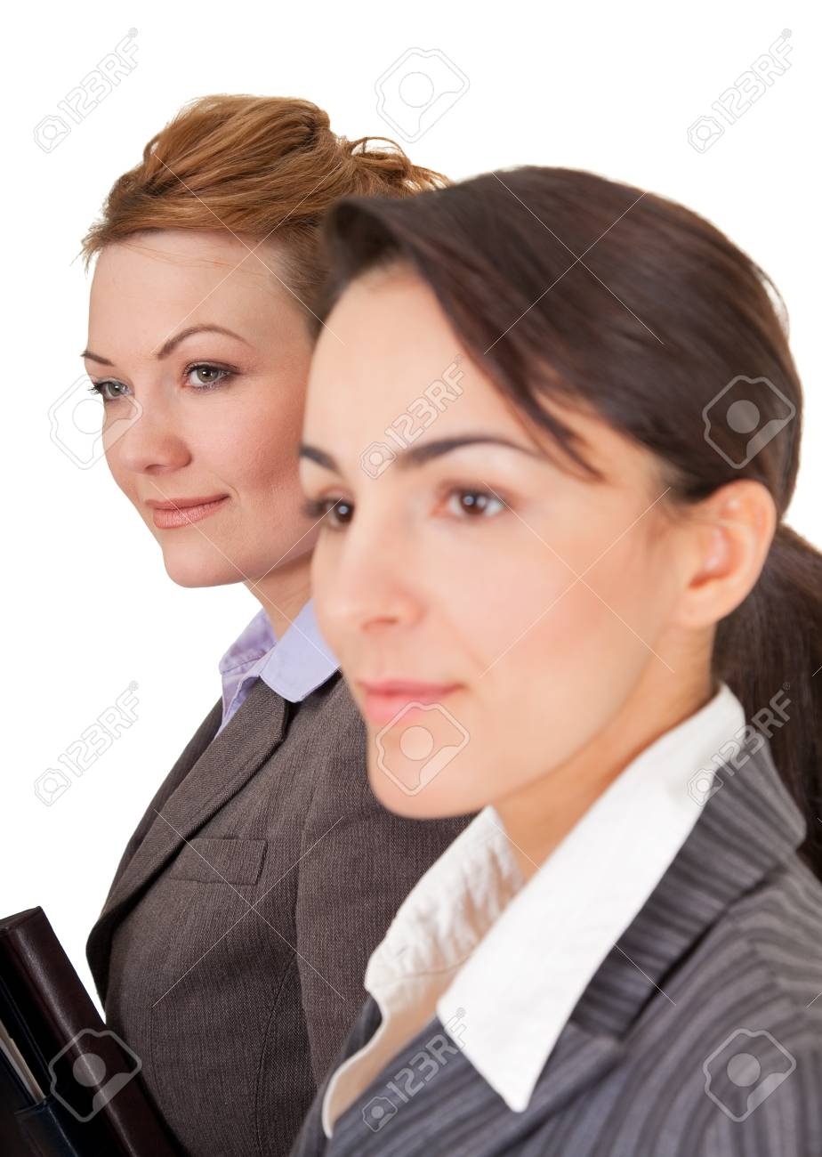 Portrait of two business women on white background Stock Photo - 9485074