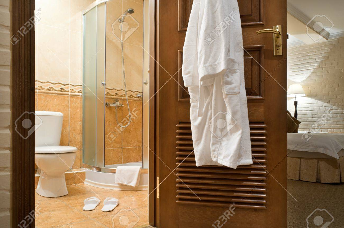 Interior. WC, bathrobe, shower cubicle. Stock Photo - 10507858