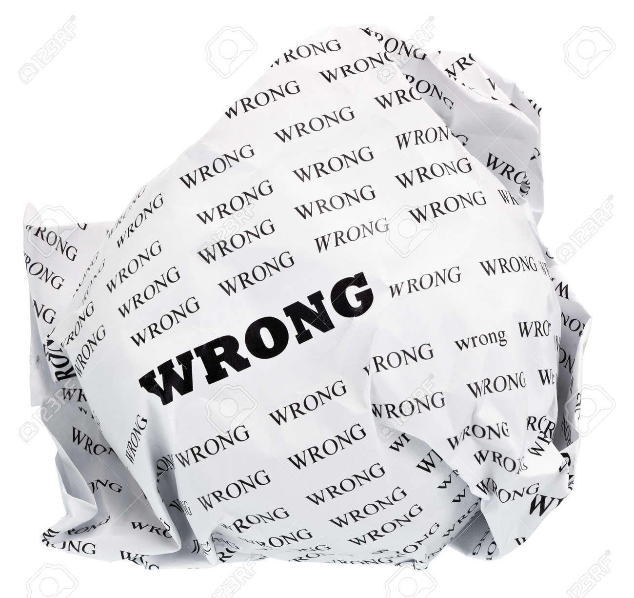 ball of crumpled paper with conceptual text  Isolated, expanding