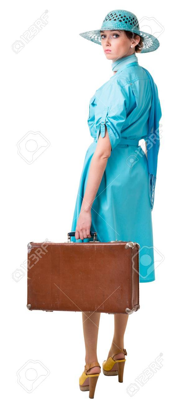 traveling woman in retro clothing. Isolation on white background Stock Photo - 14113034