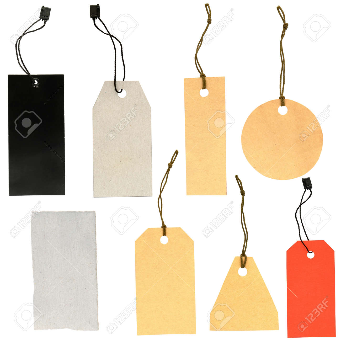 set of labels of various shapes on a white background Stock Photo - 13369585