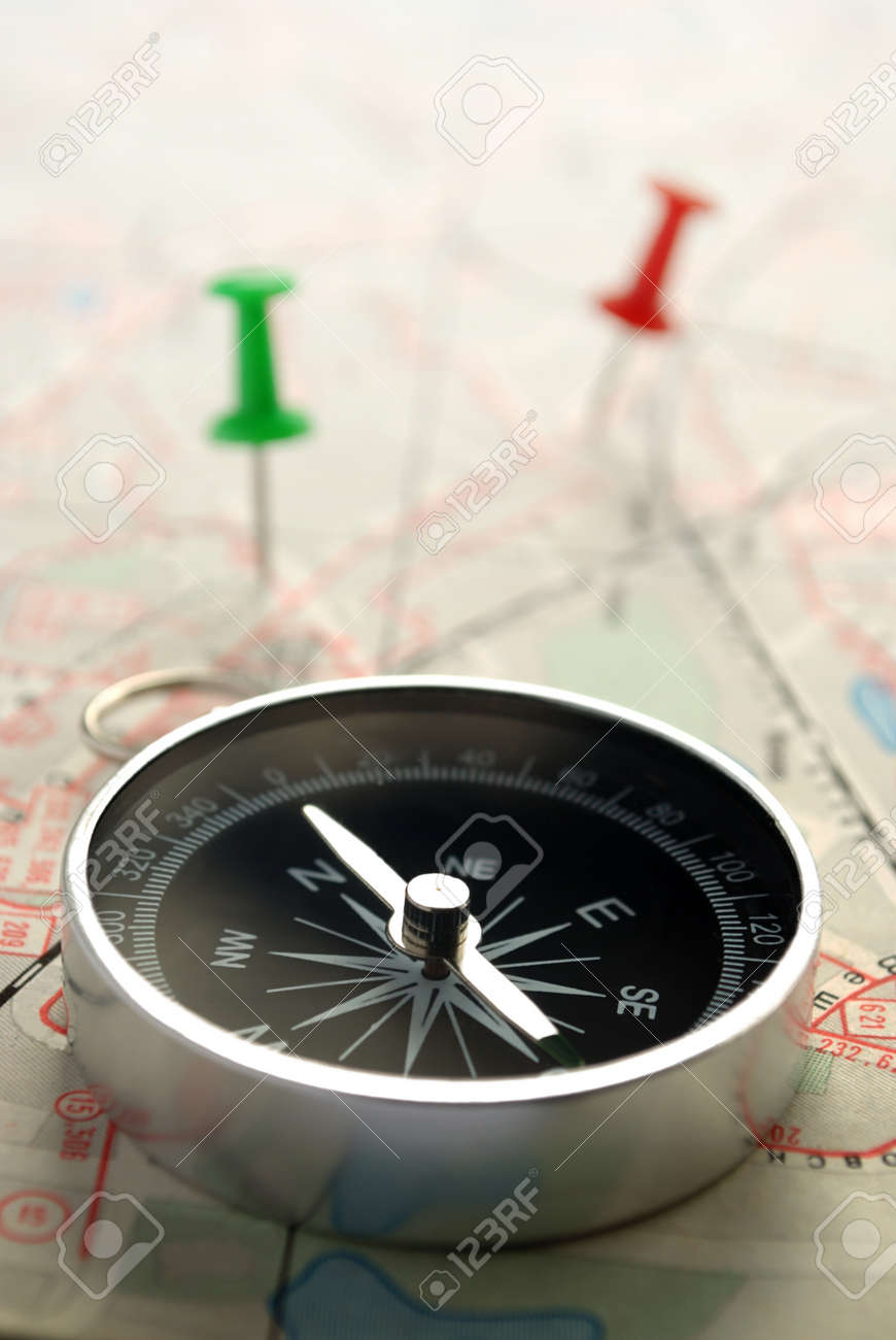 compass, map and pushpin on the table Stock Photo - 14866983