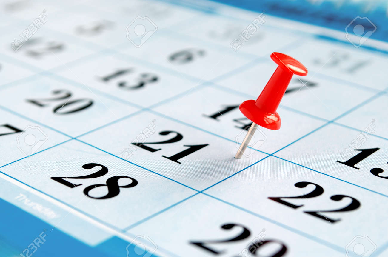 Calendar And Marked The Date The Pushpin Stock Photo, Picture And ...