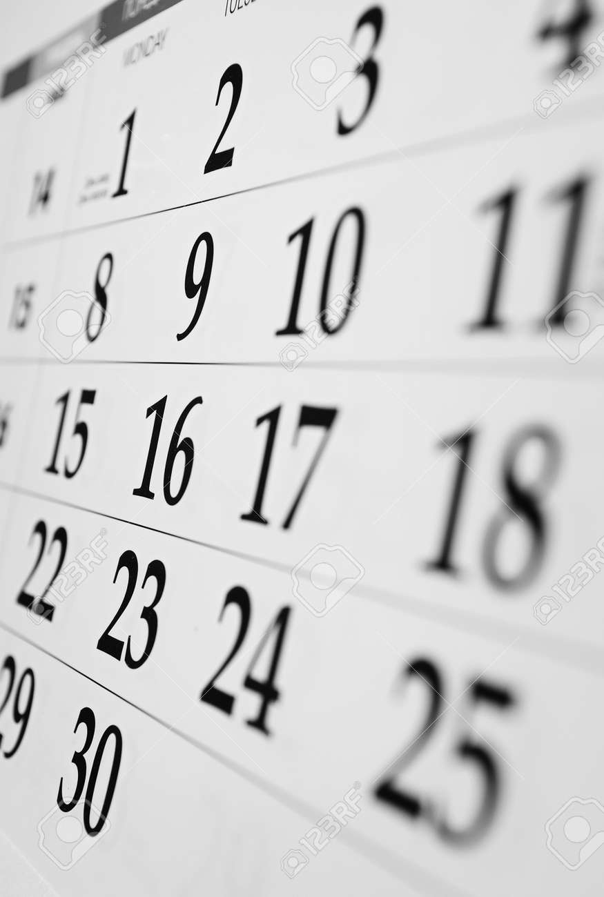 Calendar with dates viewed at an oblique angle with shallow dof - 30977209