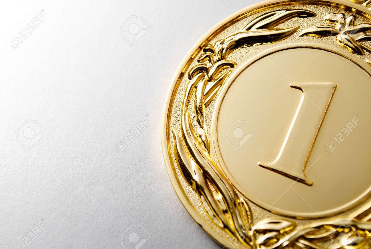 Gold medal winner on a white background - 36510631