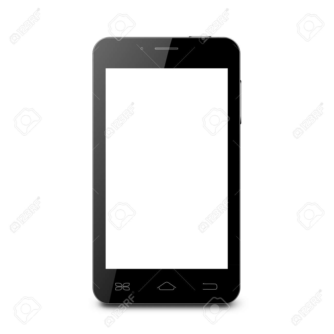 Black Mobile Phone With Blank Screen On A White Background Stock