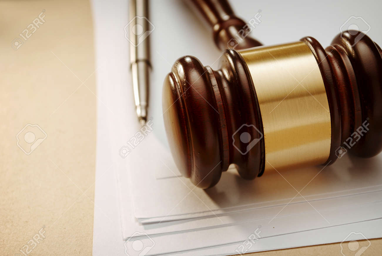 Gavel close up. Conceptual image of law and justice. - 40908615