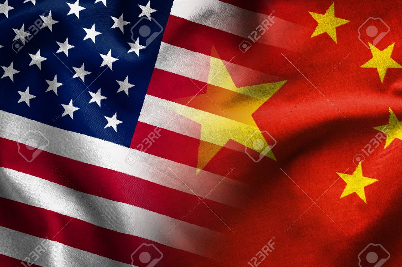 Composite of the flags of The Peoples Republic of China and the Stars and Stripes of the United States of America - 116564892
