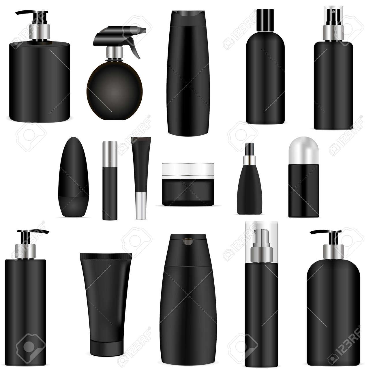Black cosmetics bottle set. 3d mock-up package. Vector illustration of spray, dispenser and dropper, cream jar, shampoo, lotion, soap, toothpaste. - 120672949
