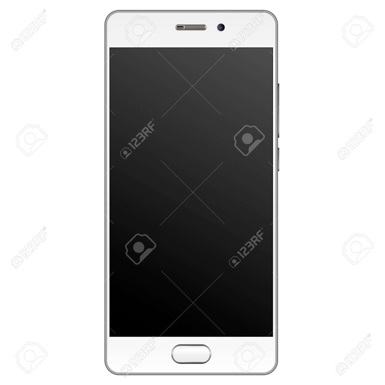 Modern realistic Smartphone mockup with silver edge frame. Cell phone template with empty screen Vector illustration. Mobile device isolated on white background. - 121640518
