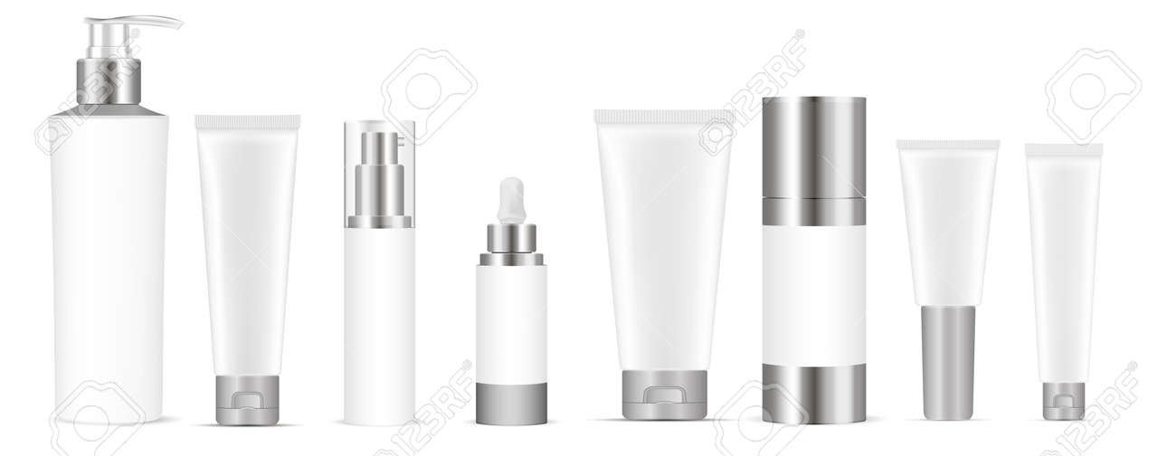 Set of white vector cosmetic bottle blank templates, plastic containers bottles with spray, dispenser and dropper, cream tube. Realistic 3d mock-up of cosmetics package. - 122376454