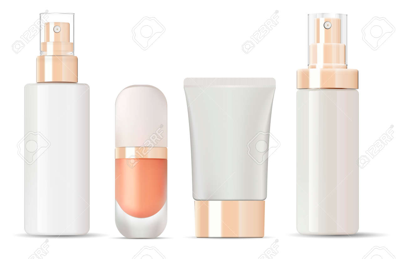 Glossy glass bottles with gold lids mockup set. Vector illustration blank templates of empty clean glass jars: bottles with spray, base jar, lotion, cream tube. - 126717361