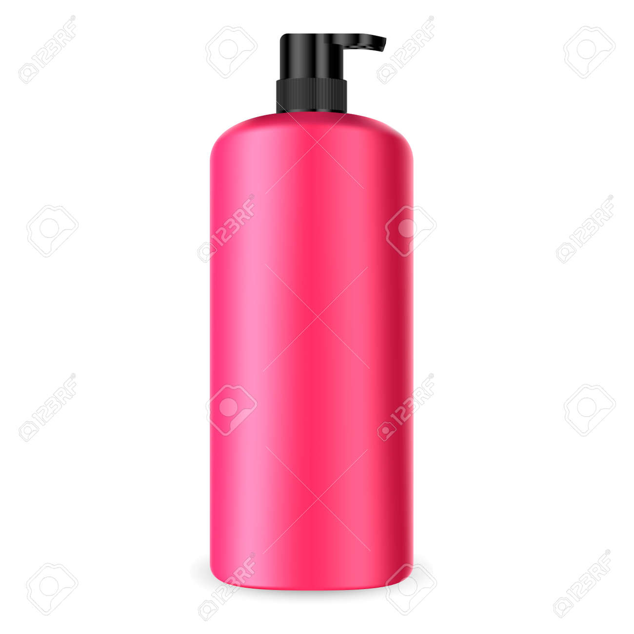 Dispenser Pump Cosmetic Bottle. Batcher Container 3d Mockup. Red Plastic Packaging for Shampoo, Lotion, Hand Cream, Medical Liquid. Sunscreen Treatment Tube with Black Cap. - 122377204
