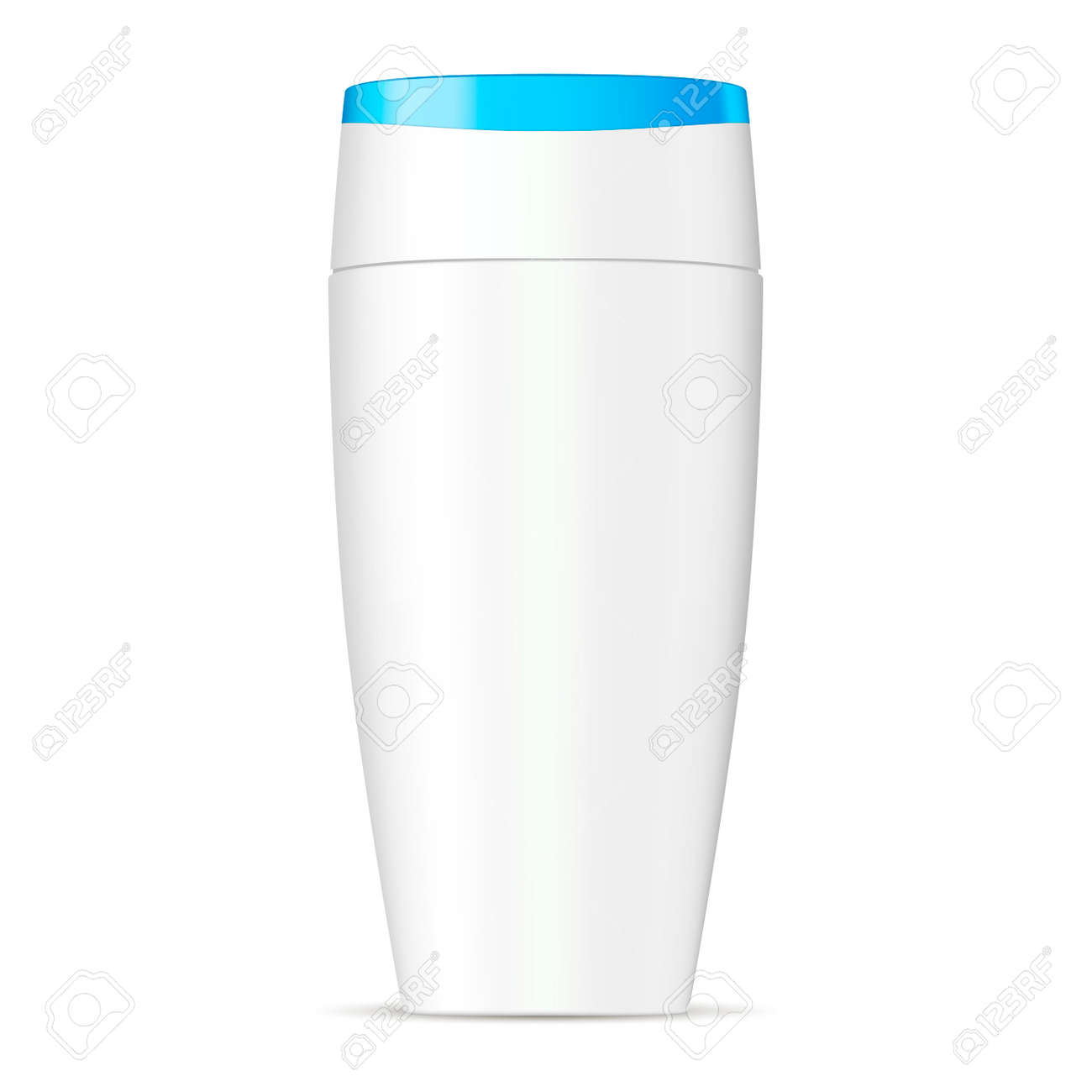 Shampoo Cosmetic Bottle. Isolated White Pet Container with Aqua Blue Lid for Hair Moisturizer, soap, Gel Product. Oval 3d Packaging Template for Advertising. - 126717574