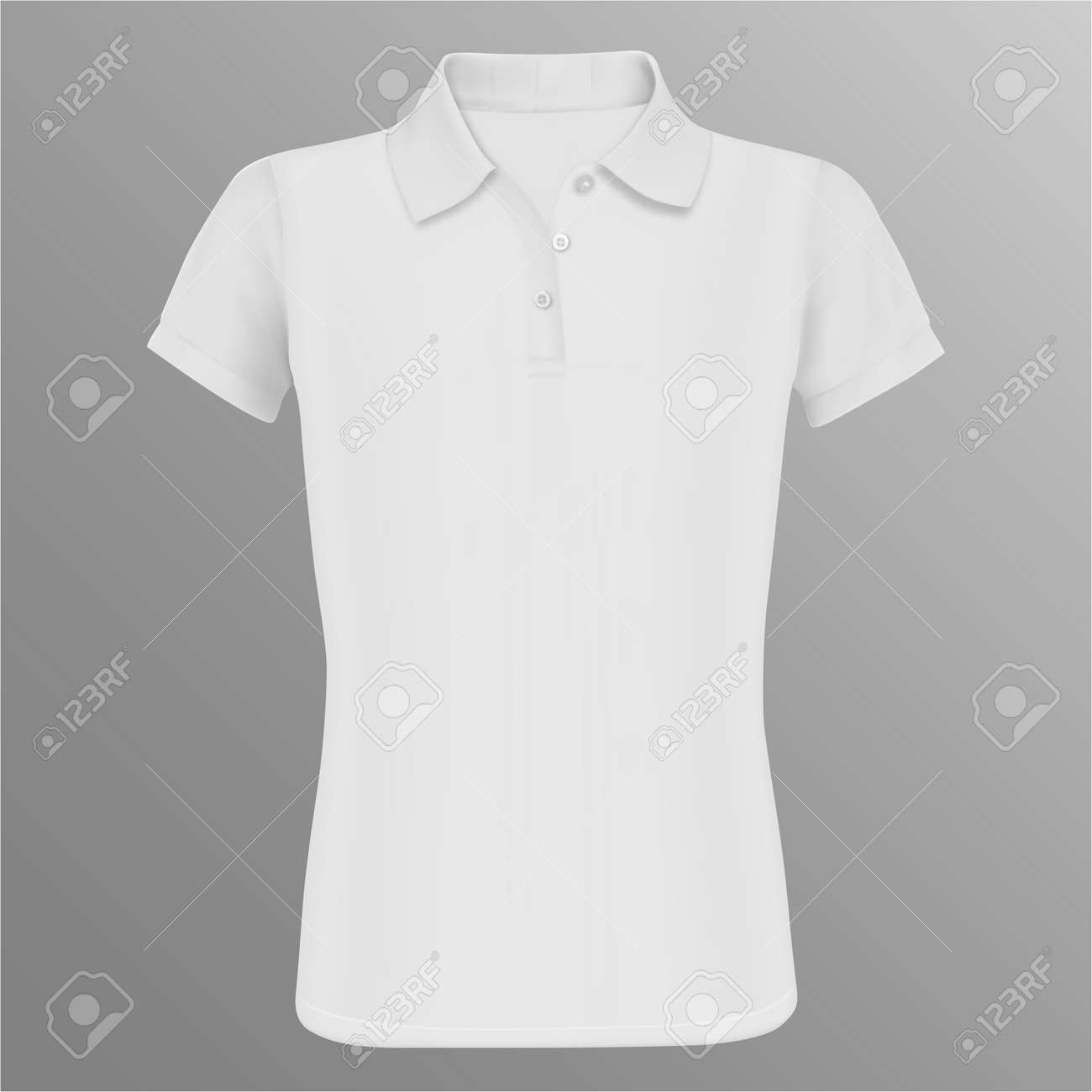 Polo Shirt Mockup White Vector Isolated Template Realistic