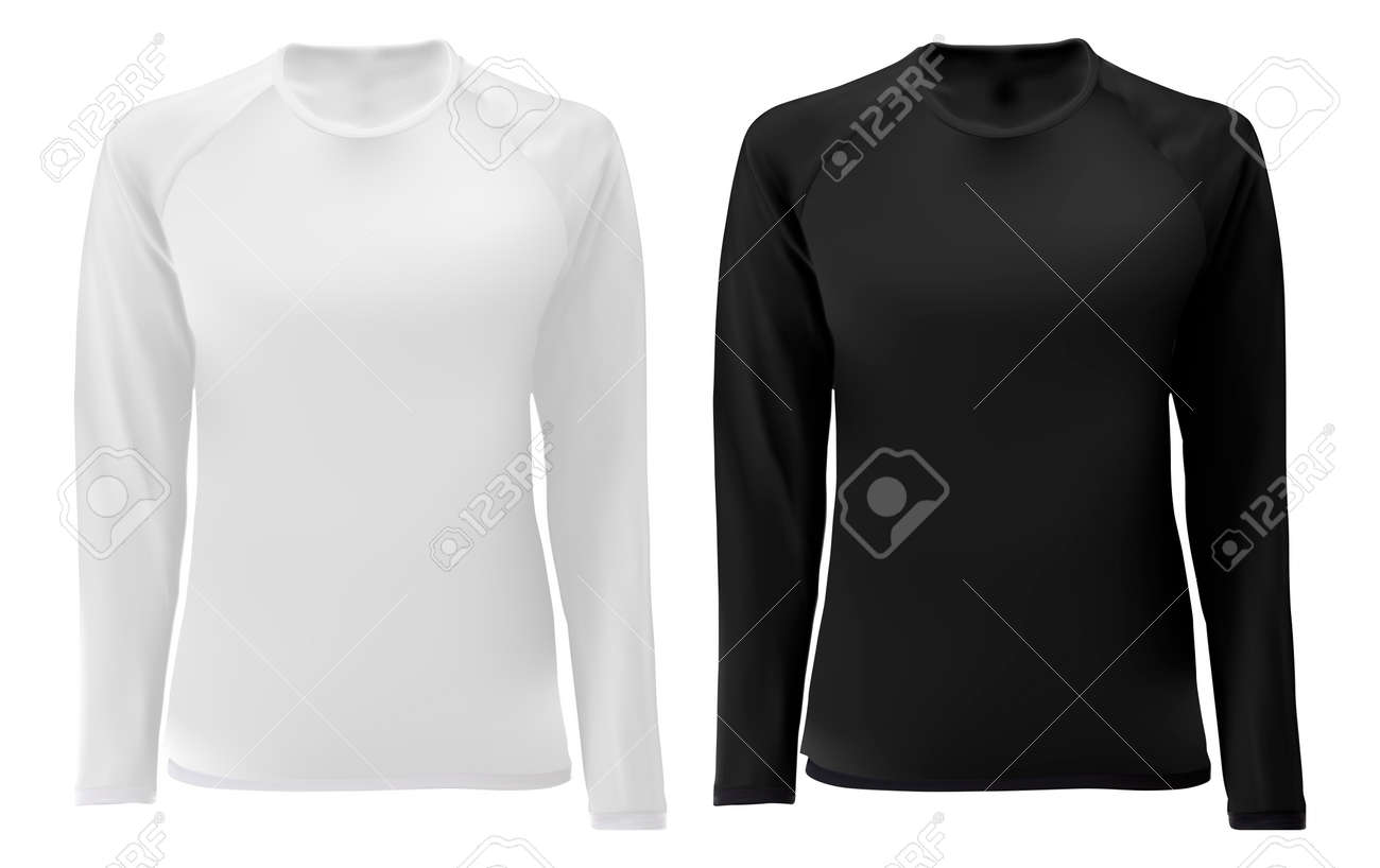 T Shirt Template Long Sleeve Black White Design For Male And Royalty Free Cliparts Vectors And Stock Illustration Image 131210100
