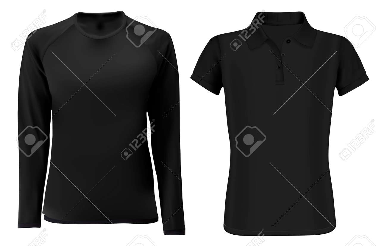 T shirt template mock up. Black vector blank front view. Short and long sleevve fashion sweatshirt unisex. Sports polo clothes. Uniform undershirt for men and women. Editable design - 132092982