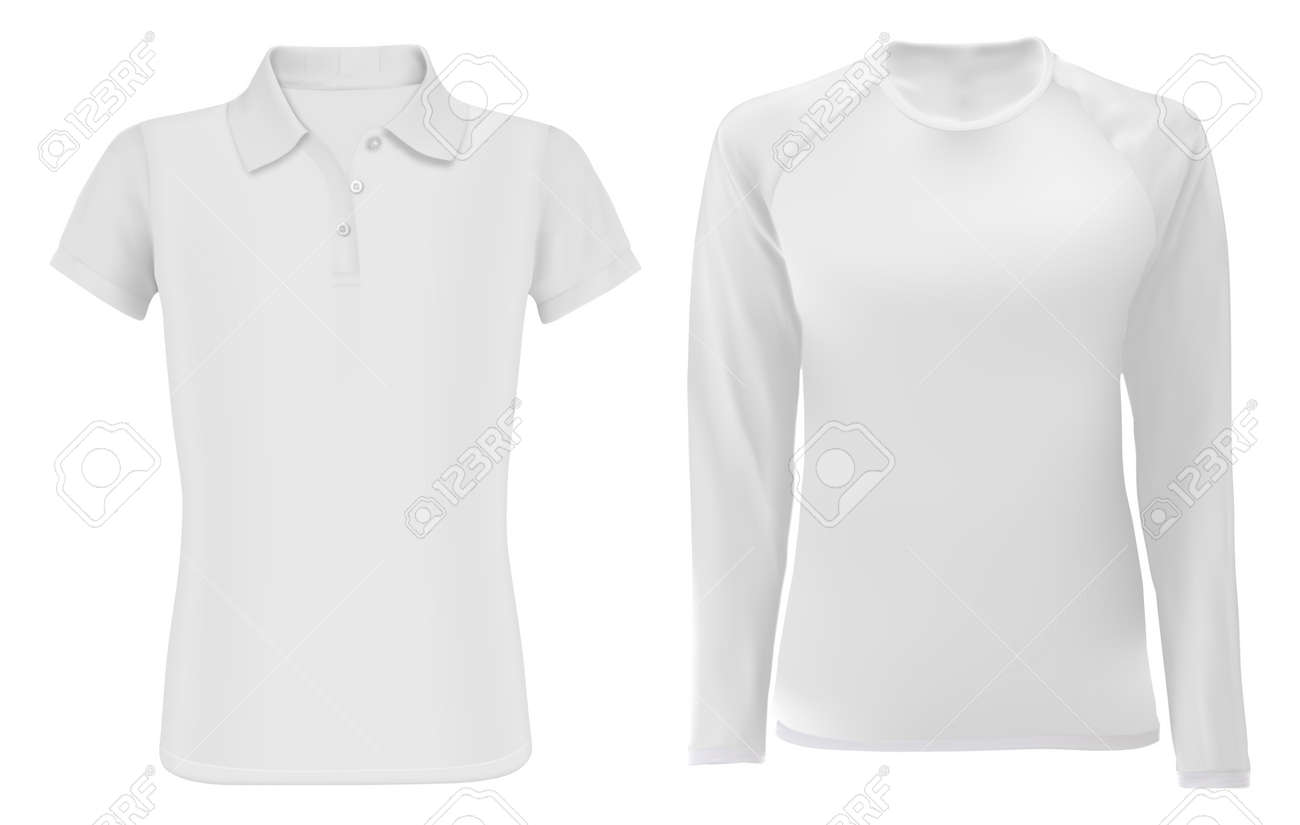 Polo shirt mock up. Men long sleeve apparel blank. Young fashion textile sport wear model set for promotion, editable design. White sweatshirt template front. Male tshirt and undershirt - 139258971