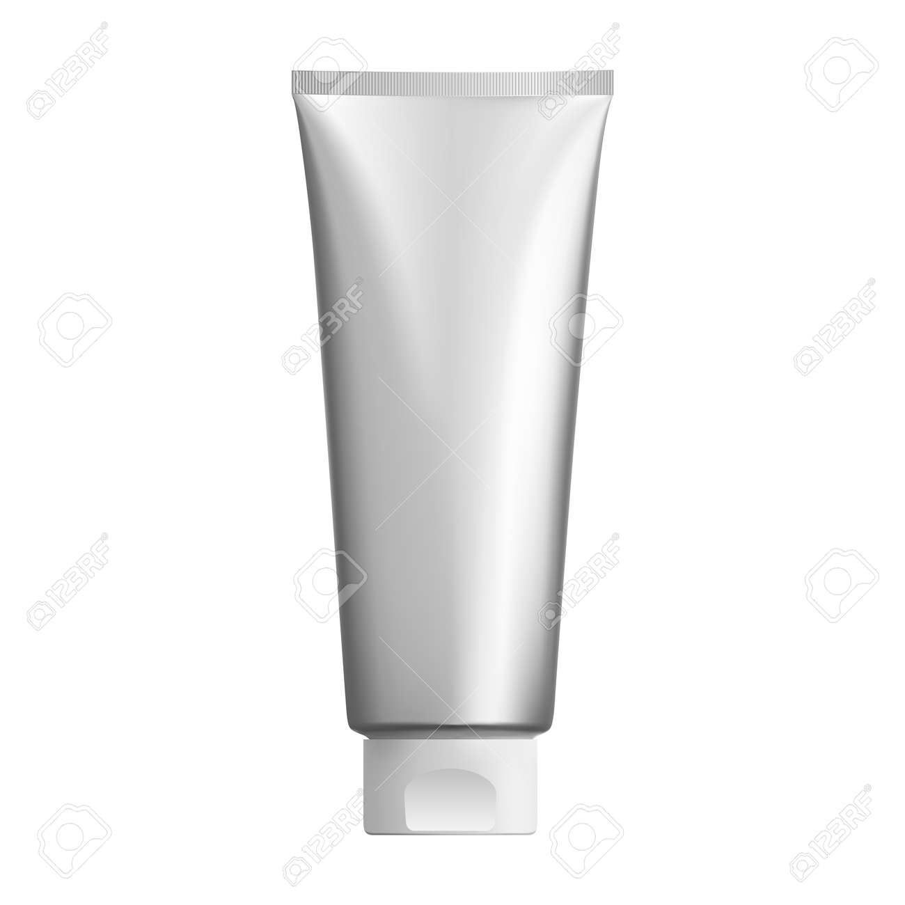 Silver cosmetic tube mockup. Plastic packaging for cosmetology cream product. 3d pack design for ointment or gel. Realistic mock up illustration for tooth paste or foam - 146688493